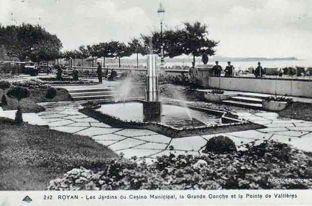 Royan carte postale ancienne, lle Casino Municipal, jardins